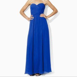 Ralph Lauren Royal Blue Strapless Evening Gown